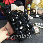 Jewelled Bling Crystal Diamond PU leather wallet flip Case Cover & long strap #A