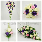 Silk Wedding Flowers by Petals Polly, BOUQUET POSY BUTTONHOLES in PURPLE PINK