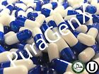 500 EMPTY GELATIN COLOR CAPSULES - R BLUE/WHITE - SIZE 0 (KOSHER) US QUALITY