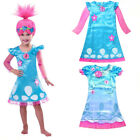 Girls Troll Poppy Costume Dress & Wig Party Cosplay Set Fancy Dress Up  Outfit image
