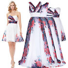 Short/Long Floral Chiffon Bridesmaid Wedding Prom Party Evening Cocktail Dresses