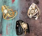Gold Crystal Fashion Women Bracelet Watch Black White Leather Quartz Steel New