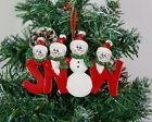 Personalised Family of 3,4,5 Christmas Tree Ornament - Red Snow Family Decoratio