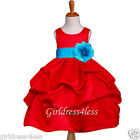 RED TURQUOISE BLUE HOLIDAY WEDDING FLOWER GIRL DRESS 6M 12M 18M 2 3/4 6 8 10 12