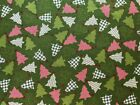 Patchwork Christmas Trees on Green Cotton Quilt Fabric Sewing Crafts