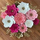 2PCS 20cm Pre-Made Rose Paper Flower Wedding Party Backdrop Wall Decor 3D DIY