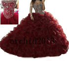 online dreses - Wine Red Beaded Quinceanera Dresses Ball Gown Prom Party Formal Evening Dreses