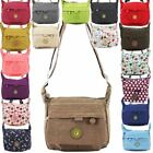 WOMENS MENS NEW WATERPROOF LIGHTWEIGHT CANVAS FESTIVAL CROSSBODY BAG