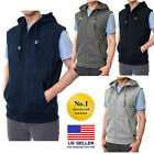 Mens Sleeveless Vest Solid Zipper Zip Up Hooded Hoodie Sweatshirt Cotton Warm