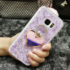 Bling Glitter Quicksand Heart Ring Stand Sparkle Soft Silicone Rubber Case Cover