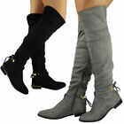 Womens Ladies Over The Knee Thigh High Boots Stretch Lace Up Low Heel Shoes Size
