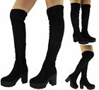 New Womens Ladies Thigh High Over The Knee Platform Chunky Heel Boots Shoes Size