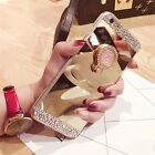 Luxury Mirror Bling Diamond Ring Holder Stand Soft Case Cover For Mobile Phones