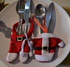 12 x Santa Christmas Tableware Decorations Novelty Cutlery Holders Party Bags