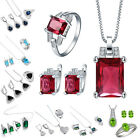 925 Sterling Silver Sapphire Emerald Pendant+Earrings+Ring Jewelry Set Wedding