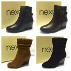 Top Brand Real Genuine Leather Suede Wide Fit Heel Wedge Zip Up Winter Boots Sho
