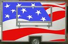 Large USA Flag Burger Van Stickers, Catering Trailer, Cafe, Catering.