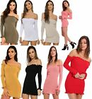 Ladies Knitted Frill Bardot Off Shoulder Long Sleeve Top Womens Ribbed Dress