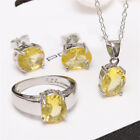 925 Silver Yellow Crystal Zircon Ring+necklace Pendant+earrings Xmas Jewelry Set