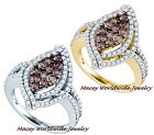 10K GOLD BRANDY DIAMOND CHOCOLATE BROWN FLOATING MARQUISE RING 1.65CT