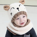 Hot Toddler Baby Girls Boys Warm Hat Winter Hooded Scarf Earflap Knitted Cap
