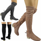 Womens Ladies Over The Knee Thigh High Boots Low Heel Lace up Flat Shoes Size