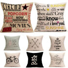 Letters Printed Cotton Linen Pillow Case Cushion Cover Home Decor Throw Cover