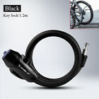 Heavy Duty Bicycle & Motorbike Coil Security Lock Steel Cable Chain Key 1.2 1.8M