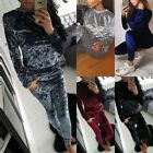 Womens Ladies Crushed Velvet Tracksuit Hoodies Sweatshirt + Pants Set Sport Suit
