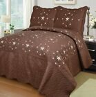 Fancy Linen 3pc Brown Texas Star Bedspread Quilt Set Embroidery All Sizes New image