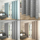 PAIR OF SATURN SWIRLS STYLE EYELET LINED CURTAINS IN GREY/NATURAL OR DUCK EGG
