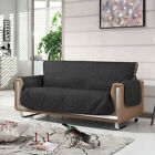 Black Couch Cover Quilted Slipcover Furniture Blanket Protector 1/2/3 Seater