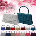Women Lace Satin Floral Pattern Wedding Evening Prom Party Clutch Bag Handbag