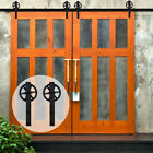 4FT-20FT Big Strap Spoke Wheel Sliding Barn Door Hardware Kit for One/Two Doors