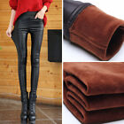Winter Womens Warm Stretchy Faux Leather Leggings Trousers Pencil Pants Fleece