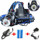 Headlight Cree XM-L 20000LM Rechargeable T6 LED Headlamp+Batt+Charger LOT EK