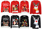 Girls Boys Kids Xmas Merry Christmas Tree Elf Rudolph Novelty Age 3-12 Red Black