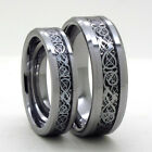 Size 4-18 Silver Celtic Dragon Inlay 8mm or 6mm Tungsten Carbide Wedding Ring