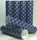 Navy Blue and White Fish Scale Candle Covers Coastal Socket Sleeves Set of 6
