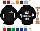 Custom Printed Full Zip Hoodie workwear club fun personalised child adult casual