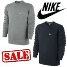 Nike Men's Club Fleece Sweatshirt Swoosh Logo Crew Neck Jumper Top - Black Grey