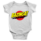 Bazinga Babygrow Big Bang Theory Sheldon Cooper Funny Joke Gift New Baby