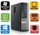 Dell Optiplex 790 SFF, Core i5/i7, SSD/HDD, 4/8/16GB, Windows 7/10 pro, Warr