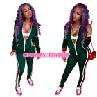 USA Fashion Women Autumn  Long Sleeve Zipped Body con Costume 2PC Set Jumpsuit