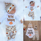 Baby - Newborn Infant Baby Boy Girl T-shirt Tops+Pants+Hat Outfit Clothes Set Bodysuits