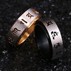 Six True Words Mantra Holy Symbol Lucky Rotatable Ring Gold Stainless Steel 1PC