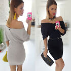 Fashion Women Off Shoulder Short Sleeve Party Evening Cocktail Short Mini Dress