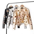 Punk Motorcycle Womens Coat Hollow Out Rivet Ring Short Pu Leather Casual Jacket