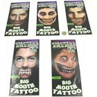 Big Mouth Temporary Tattoo Halloween Costume Zombies Party Accessories 14+