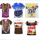 Funny 3D T-shirt Nutella Chocolate Oreo M&M Casual Men Women Fashion All Size